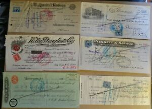 6 Checks 1930 to 1944 Canadian Businesses see description
