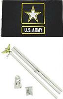 3x5 U.S. Army Star Black Flag 6' Ft White Flagpole Flag Pole kit Home Business