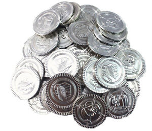 Plastic Coins Pirate Fake Doubloons Silver Approx 100 Count