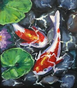 Original painting by Leigh Elks, acrylic on loose canvas Koi Pond