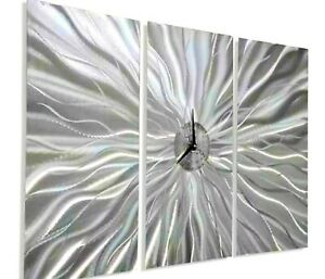 "Unique Metal Wall Clock Art Modern Silver Yellow Accent Decor 12.5/"" Jon Allen"