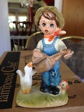 Royal Crown Antique Vintage Hand Painted Country Boy w Duck & Watering Can Rare
