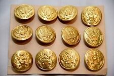 "12 Pack of WWII US Army Eagle Overcoat Brass Button 1 1/8"" American Emblem Co"