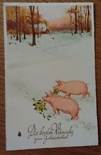 Greetings Pig Postcard , Early Postcard Posted 1930
