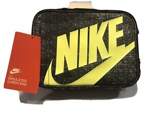 NEW NIKE INSULATED FULL ZIP SCHOOL SPORTS LUNCH TOTE BAG PACK BLACK LIME LOGO