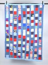 Vintage Check Block Patchwork Quilt Blanket Handmade Cabin Throw Cover 42 x 63