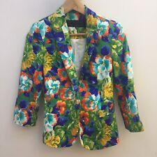 Zara Basic sz S Bright Green Floral Print Dress/ Suit Style Blazer Jacket AS NEW