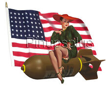Nose Art WWII Pinup Bomber Girl on Flag Waterslide Decal Sticker S679