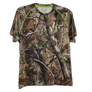 Under Armour Real Tree Shirt Small Camo Scent Control Crew Neck Short Sleeve