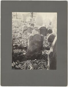 1703 Gravestone Charlestown Massachusetts Mounted 1902 Cemetery Grave Photograph