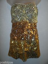 bebe L Tina Dress NWT $149 Ombre Gold Allover Sequin Tiered Bodycon Club Party