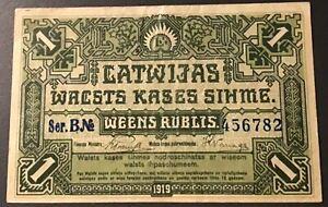 Latvia - 1 Rublis 1919 P#2a EF Circulated