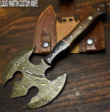 Louis Martin Custom Made Damascus Walnut Wood Hunting Clever Chopper Axe Knife