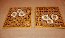 2 mid century Nos Georges Briard enamel over metal daisy pattern wall tiles