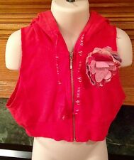 DEHA GIRL'S SHORT BRIGHT RED CORAL VEST HOODIE WITH FLOWER SIZE XS