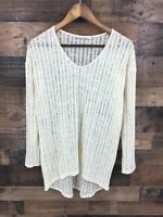 Ellison Women's Cream Open Weave Long Sleeve Hi Low Hem Tunic Top Size M