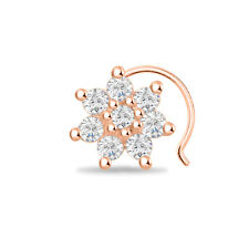Fancy Stone 925 Sterling Silver Nose Pin 14K Rose Gold Finish Sun Style Cluster