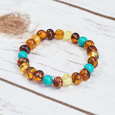 Natural Baltic Amber Bracelet Genuine Cognac Universal Turquoise Handmade Gift