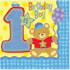 1st Birthday Hugs and Stitches Boys Lunch Dinner Napkins 16 Per Package NEW