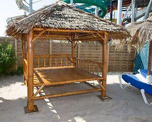 thailändischer Bambus Pavillon Sala Sonneninsel Gartenmöbel Lounge Sonnenliege