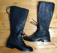 Frye Natalie Women's Tall Black Combat Leather Lace up Zip Boots Sz 6.5M New