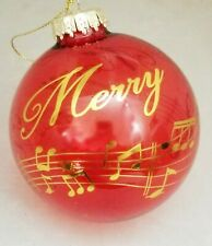 Music Notes Sheet Glass Ball Ornament Red Gold Large Christmas Gift