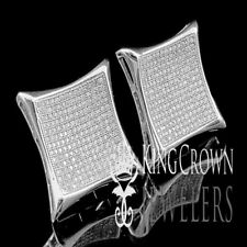 Men's XXL Real 925 Silver White Gold Finish Kite Square Earrings Studs 22 mm New