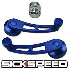 2 BLUE BILLET ALUMINUM WINDOW CRANK HANDLE WINDER FITS HONDA CIVIC/DEL SOL