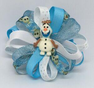 "Girls Hair Bow 3 1/2"" Wide Flower Disney Frozen Olaf -Barrette-Clip-Ponytail"