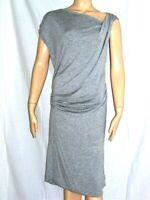 Sz L SEVEN 7 Heather Gray Rayon Spandex Dress Sleeveless Side Ruching Knee XL