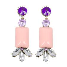 Dichiarazione Lampadario Gioiello Orecchini Pendenti Cristallo Viola Rosa Pastello   GRATIS P&P