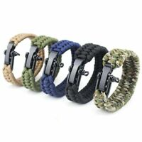 Survival Outdoor Buckle Steel Shackle Hiking Paracord Bracelet Camping Rope New