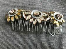 Genuine Jenny Packham floral hair slide golden bridal wedding christmas £250 NEW