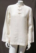 LRL RALPH LAUREN Women's Cream Linen Asian Frogs Tunic Shirt Top size M EUC
