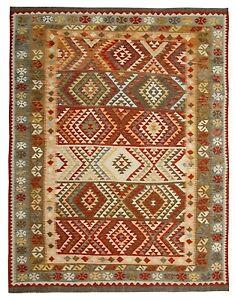 Hand Made Kilim Rug Oriental Wool Area Rug Flat Weave Carpet 195 x 249 cm