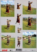 Feuille 3D à découper A4 - Pickup-071 Golf Sport - Decoupage Sheet
