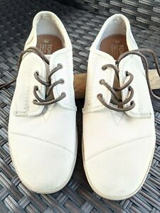 TOMS Mens 9 Leather Paseos Sneakers Antique White Preowned