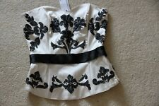 New Warehouse Cream with Black appliqued design boned Corset style Top size 8