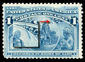 """US Sc# 230 Var *MINT OG H* { RARE """"CRACKED PLATE VARIETY"""" } 1c COLUMBIAN OF 1893"""