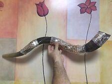 "shofar kudu amazing silver - plated 34""-36"" yemenite horn ark of the covenant"