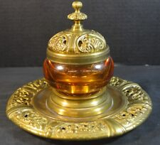 Antique Amber Glass and Brass Inkwell