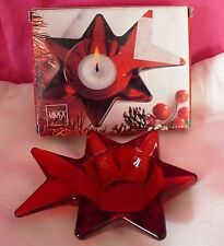 Candle Holder Red Votive Mikasa Japan Star Art Glass Christmas Decor Decoration