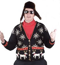 Ugly Tacky Christmas Party WINNER White Reindeer Cardigan Sweater Jumper Adult M