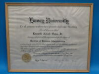 FRAMED 1940 EMORY UNIVERSITY BACHELOR OF BUSINESS ADMINISTRATION DIPLOMA