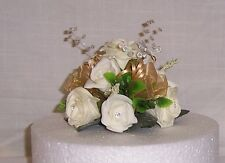 golden wedding flowers ivory & gold roses & crystals cake dec single topper