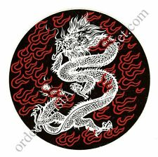 "Tribal DRAGON Chinese Flames Red Black White Sticker Large NEW Round 6"" Asian"