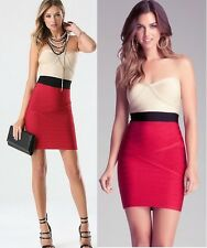 NWT bebe black nude red colorblock bandage shine tube strapless dress L large