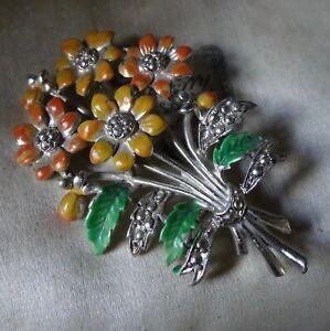 vintage orange yellow enamel flower bouquet silver tone brooch 1950s -C233