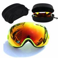 Frame Snowboard Ski Goggles Dual Anti-Fog UV Orange Lens & EVA Protective Case