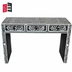 Pandora Bone Inlay Black Floral Console Table (MADE TO ORDER)